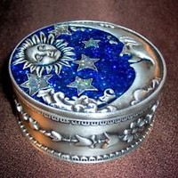 Celestial Moon and Sun Pewter Trinket Box, Wicca, BXS34