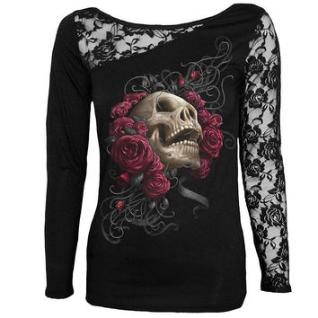 New Women T-Shirt Sexy Skull Print Long Sleeve Tee Shirt Lace Patchwork Black Tee Tops Pullovers Plus Size LJ7915M