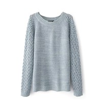 Magic Pieces Woman's Round Neck Sweater with Hollow Out Sleeve 080859