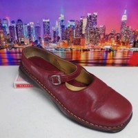 Browns Landing Emma red leather Slip On Flat Mary Janes Womens Shoes sz 9.5 M