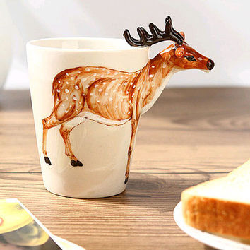 3D Ceramic Deer Coffee Tea Cup Mug