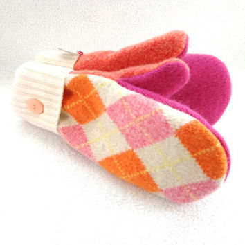 Felted Wool Mittens PINK & ORANGE ARGYLE Upcycled Sweater Mittens Fleece Lined Wool Mitts by WormeWoole