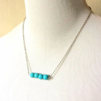December necklace: turquoise blue turquenite birthstone beads bar