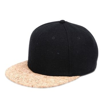 Cork Brim Snapback Hat Black