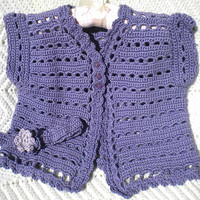 Crocheted Toddler Sweater Lilac Cotton Yarn, Headband, Easter, Spring  4T