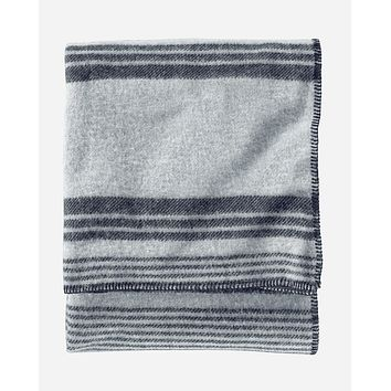 Pendleton - Eco-Wise Wool Solid Grey Irving Stripe Twin Blanket