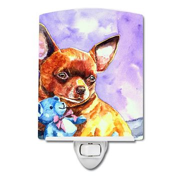 Chihuahua with Teddy Bear Ceramic Night Light 7340CNL