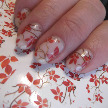 Free Shipping - AUTUMN FALL Leaves Nail Art Clear Wrap (FALL) Full Nail Waterslide not stickers