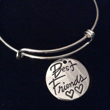 Best Friend Expandable Silver Charm Bracelet Round Stamped Adjustable Bangle Friendship Gift BFF