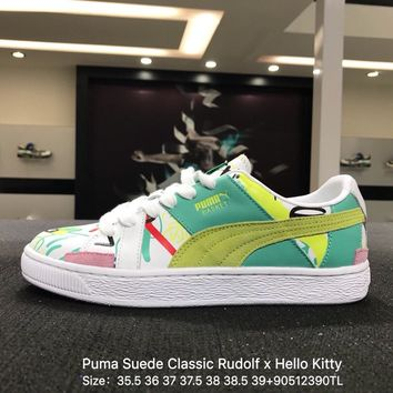 Puma Suede Classic Rudolf x Hello Kitty White Green Sneaker Shoes - 366531-01