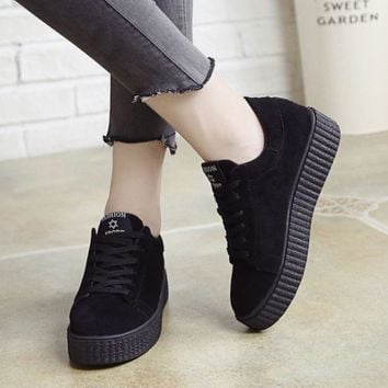 Creepers Platform Shoes Woman Suede Round Toe Lace Up Women Flats Punk Style