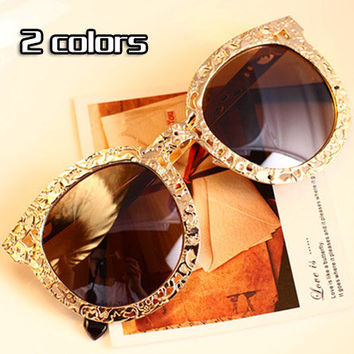 2 color Fashion Brand Design Sunglasses  Men Women Glasses Eyewear Retro metal floral Round frame free shipping M12