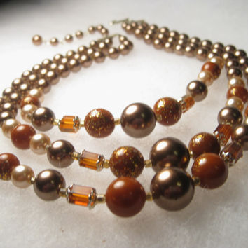 "Vintage Mid-Century Multi-Strand Mocha Pearly & Amber Beaded Choker Necklace, Gold Fleck Accents, 14-16"", extender Chain, signed Japan"
