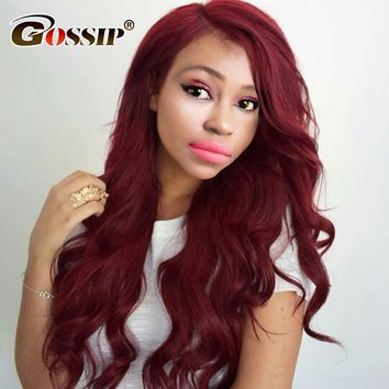 Burgundy Body Wave Brazilian Hair Weave Bunldes 99j Red Color Human Hair Bundles Gossip Hair Extensions Non Remy 1 Piece Only