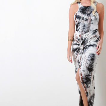 Tie Dye Knotted Skirt Maxi Dress