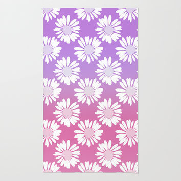Purple Gradient Flowers Area & Throw Rug by Ornaart