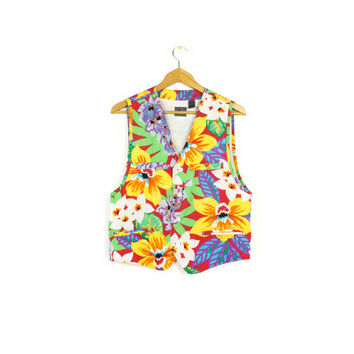90s Liz Wear tropical floral vest - vintage - rayon - hawaiian print - bold colorful - womens medium