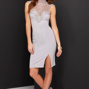 Renaissance Court Grey Lace Midi Dress