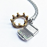 Jughead Jones Necklace Inspired by Riverdale: crown and laptop charms