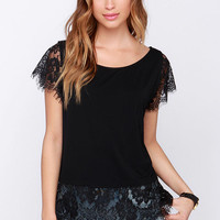 Bat a Lash Black Lace Top