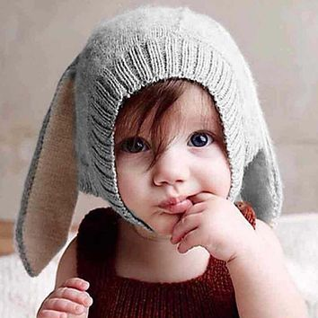 Winter Thicken Warm Baby Hats Kids Long Rabbit Ears Knitted Hat Soft Fleece Solid Color Children Bunny Cap Toddler Beanies