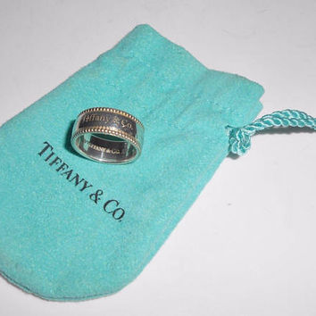 Tiffany & Co Ring Sterling Silver Beaded Cigar Band Retired Size 6.5