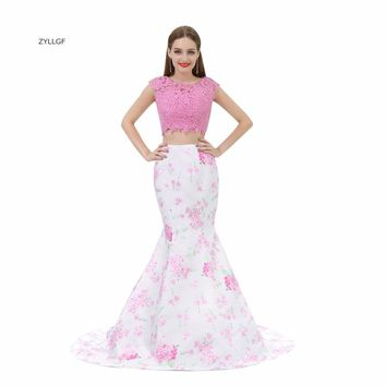 ZYLLGF 2 Piece Prom Dresses 2017 Mermaid O Neck Floral Print Prom Party Dresses Woman Elegant Dress Long With Beadings SL6