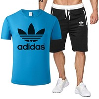 ADIDAS Tide brand simple short-sleeved sports suit two-piece Blue