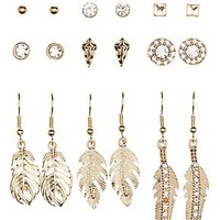 FEATHER & RHINESTONE MIXED EARRINGS - 9 PACK