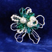 Silver Wire Sulpted Emerald Green Glass Beads and Pearl Pendant Brooch | AmeliaOriginals - Jewelry on ArtFire