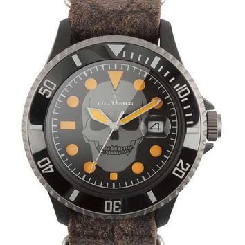 ToyWatch Skull on Fire Watch - Leather NATO Strap - Titanium & Polycarbonate