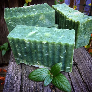 Garden Mint Hand-milled Botanical Soap, Mint-infused Tea, French Green Clay, Organic Essential Oil Blend of Peppermint & Spearmint