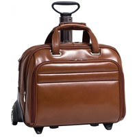 McKleinUSA MIDWAY Leather Fly-Through Checkpoint-Friendly 17 Detachable Wheeled Laptop Case