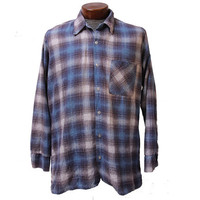 80's Blue Cotton Vintage Flannel Shirt Faded Grunge Flannel Size Medium