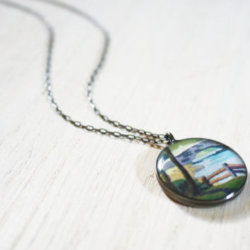 Paint by Number Necklace - fence hill stream sterling silver resin charm on delicate chain - vintage ephemera jewelry