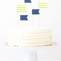 Cake Toppers Boy Birthday Party Lime Green and Navy Blue Flag Topper Stripe Pennants Kids Nautical Party Supplies Boy Baby Shower / Set of 5