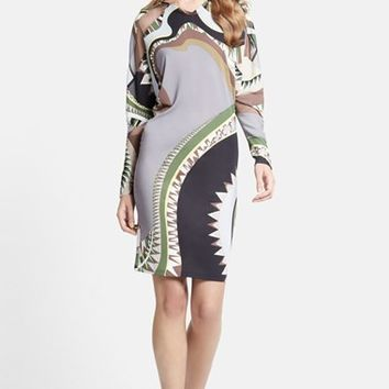 Women's Emilio Pucci Illusion Inset Print Jersey Dress