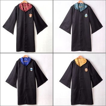 Adult Harry Potter Gryffindor/Slytherin/Hufflepuff/Ravenclaw Robe/Cloak/Cape Cosplay Costumes [9221632132]