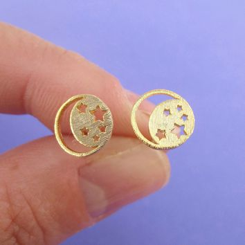Celestial Crescent Moon and Stars Cut Out Shaped Stud Earrings in Gold
