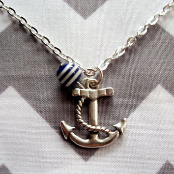 Anchor Necklace Silver Nautical Jewelry Blue by TheBonnyBoutique
