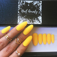 Blazin Sun- Exclusive Selected Solid Matte Yellow Neon Bright/Press on Nails/Fake Nails/False Nails/Glue on Nails
