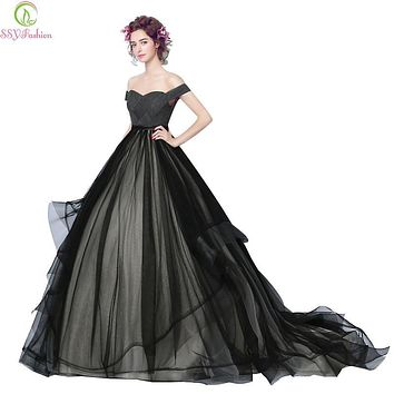 SSYFashion New Evening Dress Bride Banquet Elegant Black Boat Neck A-line Sweep Train Ruched Long Prom Party Gown Robe De Soiree