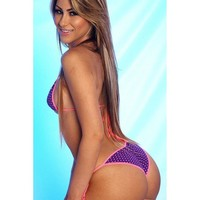 Purple/White Polka Dots Small Scrunch Butt Bikini 3pc Micro Mini Swimwear Neon Pink String