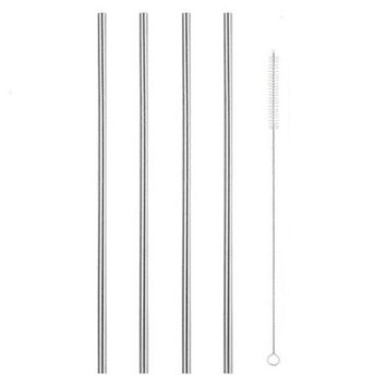 4pcs Straight Straws Stainless Steel Drinking Reusable with Brush Cleaning for Yeti Tumbler HG99