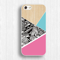 blue pink wood iphone case,geometry wood iphone 5s case,Doodle Shape iphone 5c case,splicing style iphone 4 case,art design iphone 4s case