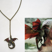 Drogon Dragon Necklace Game of Thrones Jewellery Daenerys Targaryen Khaleesi Inspired Mother Of Dragons Necklace Bronze Dragon Necklace