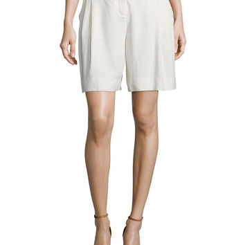 Mid-Rise Relaxed Shorts, Cream, Size: