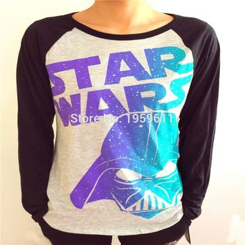 Star Wars Force Episode 1 2 3 4 5  Darth Vader Womens Black White Long Sleeve Logo Print T Shirt Women Full Sleeves Printed Clothes Large Size T-shirts AT_72_6
