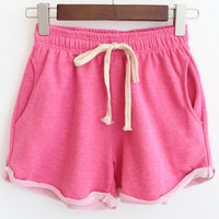 Rose Red Drawstring Waist Pockets Shorts