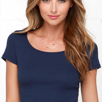 Jersey Devil Navy Blue Crop Tee